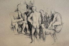 'GRUPPE', 2003, charcoal on paper