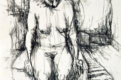 'SITZEND UNIVERSEN ERSINNEND', 2004, charcoal on paper