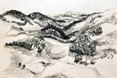 'SICHTFALL', 2003, charcoal on paper