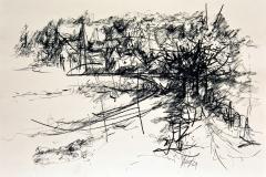 'WENN LANDSCHAFT SICH BEMÜHT, BEDROHLICH ZU WIRKEN', 2002, charcoal on paper