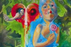 'BLIND NACH DEM LEBEN TASTEN', 2012, 100 cm x 100 cm, acrylic on canvas