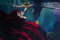 'JEDER STUPST AN SEINEM EIGENEN TRAUMBLASIGEN UNIVERSUM', 2012, 200 cm x 200 cm, acrylic on canvas