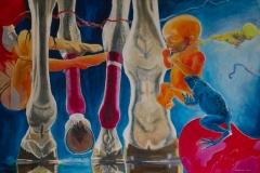 'MANCHMAL SPIEL ICH MIT FROSCHKÖNIGS ERBEN', 2010, 100 cm x 150 cm, acrylic on canvas