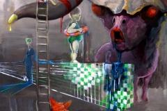 'WAS DAS LEBEN MACHT, WENN KEINER GUCKT...', 2013, 80cm x 60 cm, oil on cardboard