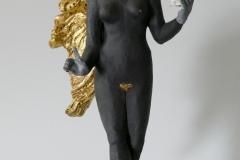 'Vertreibung aus dem Paradies', 2021, clay, porcelain, gold leaf/powder  30cm x 15cm x 12,8cm