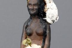 'OSTARAS ERWACHEN', 2021, clay, porcelain, concrete, sheepwool burnt,resin, seedling, 24,5cm x 13,5cm x 15cm