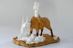 'SEELE STEPPT', 2020, clay, porcelain, glaze.