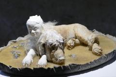 'SEELENKÖTER', 2020, clay, porcelain, concrete, dogshair, mallow blossoms, 10,5cm x 33,5cm x 24,5cm