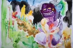 'ÜBERMÜTIG SOLL DIES DUNKEL NICHT BEGANGEN WERDEN', watercolor