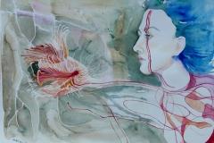 'VERBUNDSPUR', 2018, 42 cm x 56 cm, watercolor