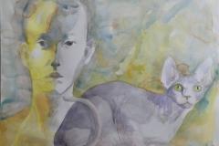 'BASTET', 2021,  30cm x 40cm, watercolor