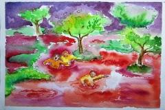 'DA SCHLAMMT AN DEN UFERN DES BLUTMEERS EIN UNTROST...', watercolor