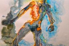 'DAS NETZWERK DER STERNE TRUG MICH INS BLAU DER AQUAMARINE', 2008, 56 cm x 42 cm, watercolor