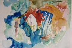 'DAS WIESEL IM NACKEN GIBT MIR RÄTSEL AUF', watercolor