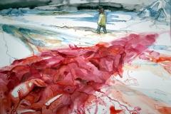 'DIE GRAUSAMKEIT DES MENSCHEN IST UNANTASTBAR', 2016, 42 cm x 56 cm, watercolor