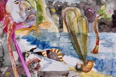 'GROßOHRIG DIE BITTERSÜßEN GEFÄHRLICHKEITEN DES LEBENS ERLAUSCHEND', 2009, 42 cm x 56 cm, watercolor