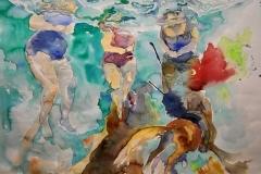'KAMPF DEN WASSERFRESSERINNEN', 2008, 46 cm x 55 cm, watercolor