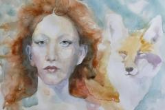 'KITSUNE', 2021, 30cm x 40cm, watercolor