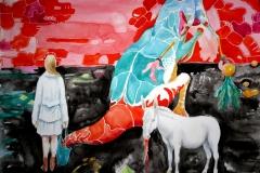 'MANCHMAL EIN KLEINER WAHNSINN IM HANDGEPÄCK', 2016, 42 cm x 56 cm, watercolor