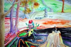 'SCHWARZLICHTMEDITATION', 2015, 42 cm x 56 cm, watercolor