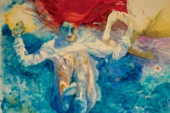 'SITZ HINTEN, SAGT DER FROSCHKÖNIG', 2010, 70 cm x 100 cm, watercolor