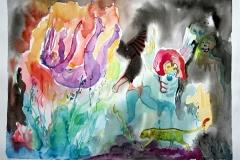 'UND DIE ENGEL FALLEN WIEDER', 2008, 24 cm x 32 cm, watercolor