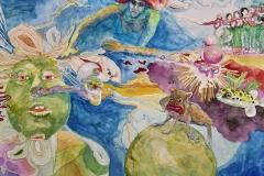 '...UND TAUCHE AB IN TRAUMBLASIGE UNIVERSEN', 2009, 42 cm x 56 cm, watercolor